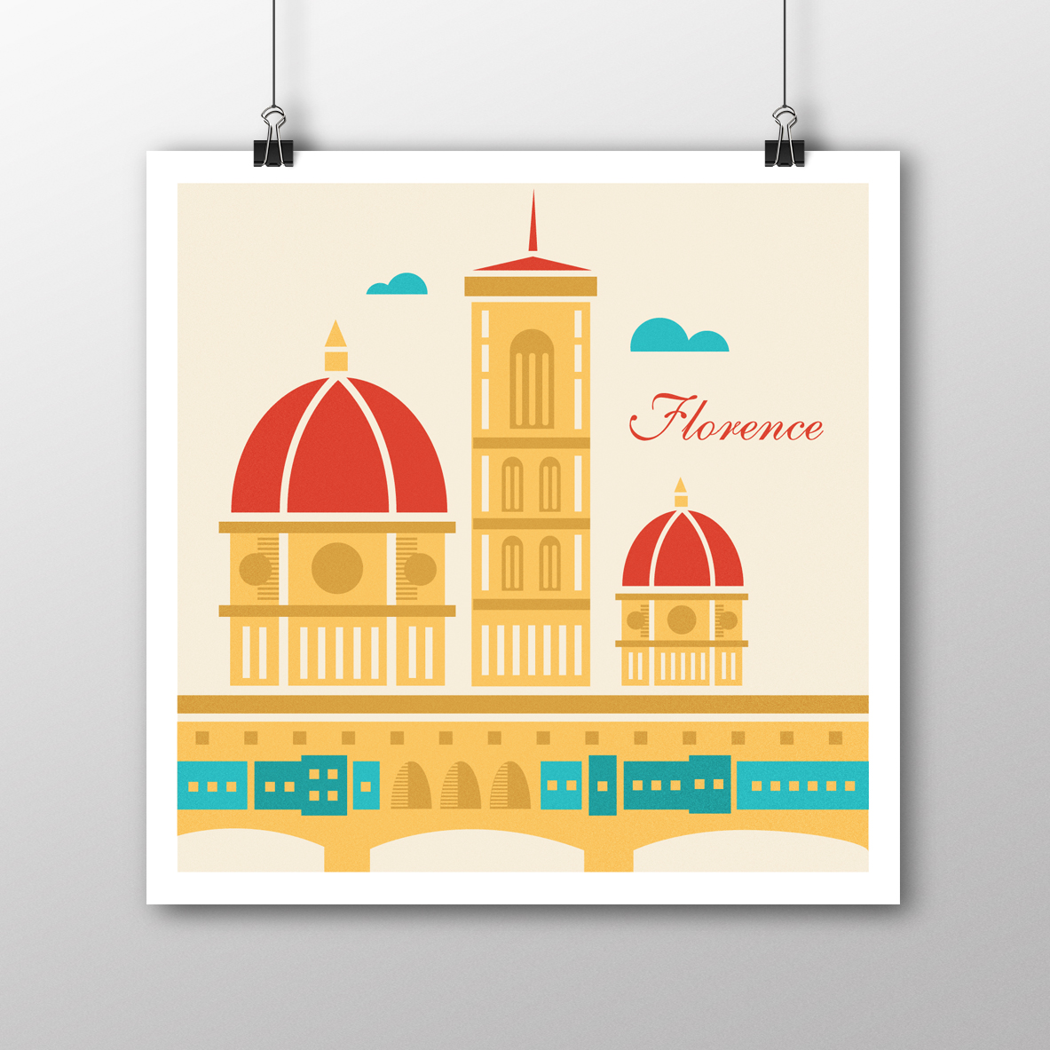 Florence Illustrated Square Poster