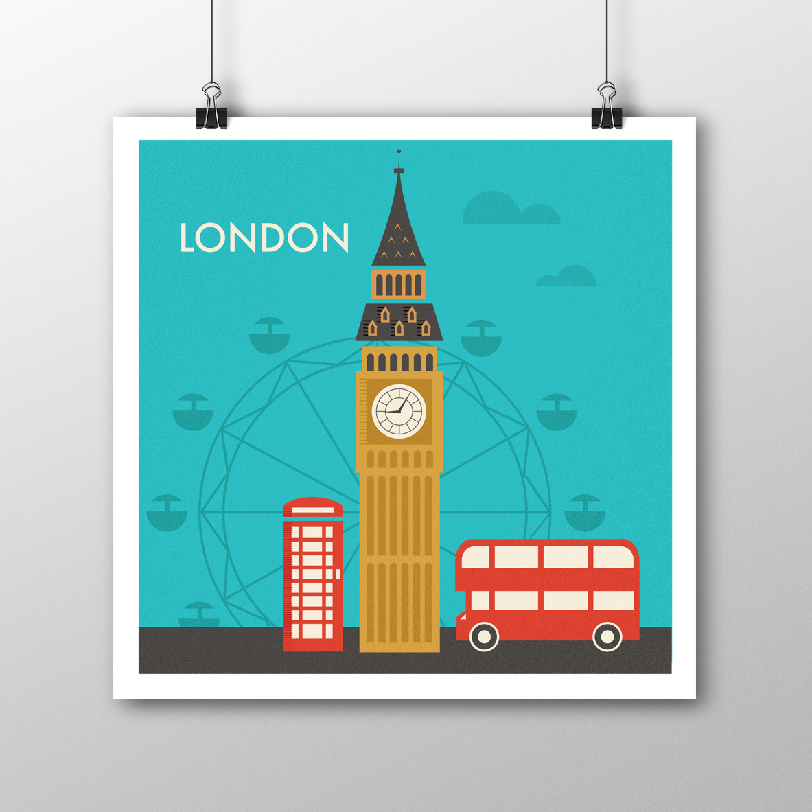 London Illustrated Digital Poster