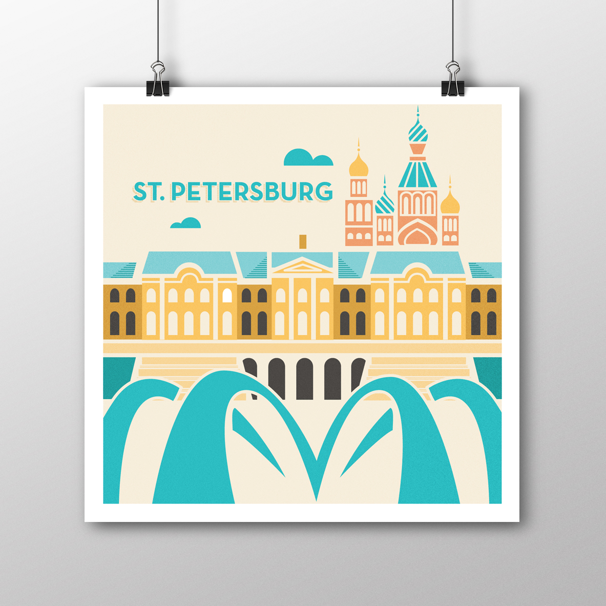 St. Petersburg Illustrated Poster