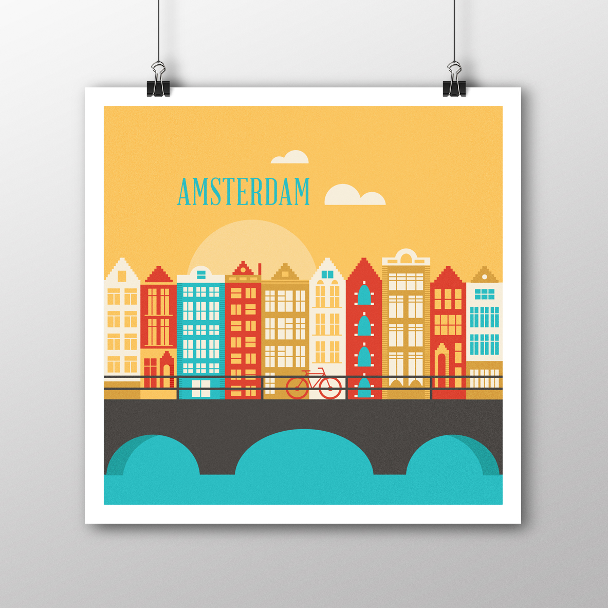 Amsterdam Illustrated Poster