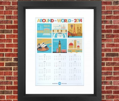 Around the World Travel Poster and Calendar