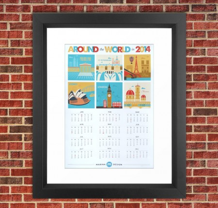 Around the World Wall Calendar