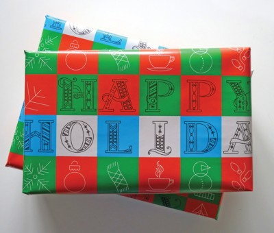Holiday Wrapping Paper with Hand Drawn Letters