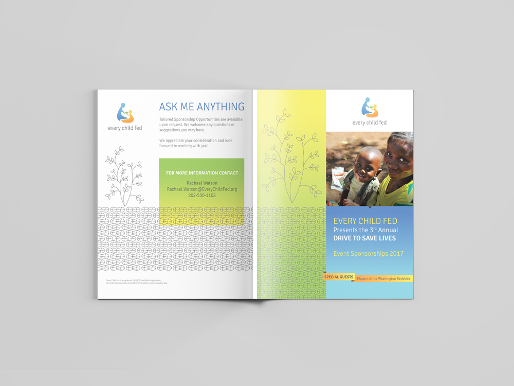 Front and Back of Nonprofit Sponsor Program: Every Child Fed